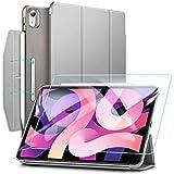 ESR iPad Air 4 ケース 2020 iPad 10.9インチ 半透明カバー 強化ガラスフィルム付き オートスリープ機能付き 第二世代Pencil ワイヤレス充電対応 三つ折りスマートケース 留め具付き グレー