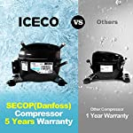 ICECO JP30 Portable Refrigerator, 12V Car Fridge Freezer, 31 Liters Compact Refrigerator with Secop Compressor, for Car… 13 ※ 【FREE PARTS】- Insulated Protective Cover & 12 Feet-Long Extend DC Power Cable. ※ 【MAX & ECO MODE】- This function allows the compressor speed to be slowed down to increase operational efficiencies(ECO) or increase the compressor speed to provide ''quick'' cooldown times(MAX). ※ 【NO ICE NEEDED】- Adjustable Temperature From -7℉~50℉(-22℃~+10℃). How Danfoss compressor works: for the purpose of saving energy, the compressor will stop operating when the freezer up to the set temperature and the compressor will restart to operating when the temperature in the box has risen 6℉-9℉.