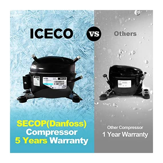 ICECO JP30 Portable Refrigerator, 12V Car Fridge Freezer, 31 Liters Compact Refrigerator with Secop Compressor, for Car… 3 ※ 【FREE PARTS】- Insulated Protective Cover & 12 Feet-Long Extend DC Power Cable. ※ 【MAX & ECO MODE】- This function allows the compressor speed to be slowed down to increase operational efficiencies(ECO) or increase the compressor speed to provide ''quick'' cooldown times(MAX). ※ 【NO ICE NEEDED】- Adjustable Temperature From -7℉~50℉(-22℃~+10℃). How Danfoss compressor works: for the purpose of saving energy, the compressor will stop operating when the freezer up to the set temperature and the compressor will restart to operating when the temperature in the box has risen 6℉-9℉.