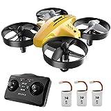 atoyx 66c rc mini drone con telecomando funzione di sospensione altitudine modalità headless 3 velocità 3d flip protezioni a 360°per bambini e principianti (giallo)