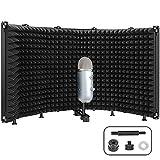 microfono isolation shield, pop filter 5 pannelli pieghevole in schiuma assorbente per yeti blu e qualsiasi apparecchiatura di registrazione microfono a condensatore