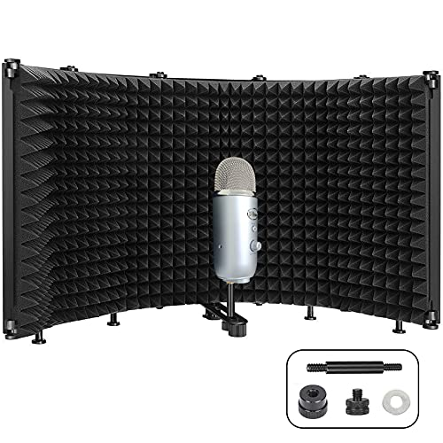Microphone Isolation Shield, Vocal Booth Isolation Shield Pop Filter...