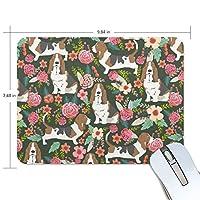 マウスパッド バセット ハウンド 花柄 ゲーミングマウスパッド 滑り止め 19 X 25 厚い 耐久性に優れ おしゃれ