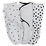 Adjustable Swaddle Blanket Infant Baby Wrap Set 3 Pack Grey and Black 0-3 Months