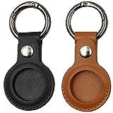 2個のAirtags保護カバー、Apple Airtagキーホルダー用、レザーAirtagsホルダーアンチロストケース、BluetoothトラッカーケースAirtags用保護スキン (Black+ Brown)