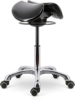 DEYI 360 Degrees Rocking or Tilting Mechanism Divided or Two Part Adjustable Seat Width Saddle Seat Stool, Pneumatic Cylinder for seat Height Adjustment for for Doctors, Dentists Plus More!