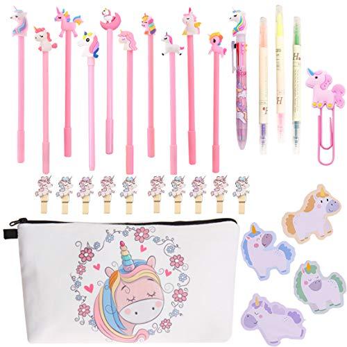 Set de regalo de papelería de unicornio grande para lápices, bolígrafos, bolígrafos escolares, kits de papelería de regalo, relleno en bolsa de Navidad para mujeres y niñas amigas (unicornio 9#)