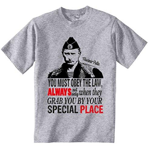 teesquare1st Putin You Must Obey The Law Camiseta Gris para Hombre de...