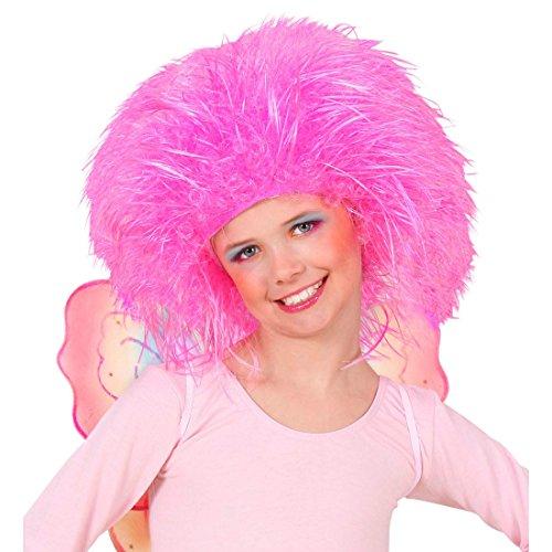 Amakando Perruque d'elfe Conte de fées pour Enfant crinière Punk néon Cheveux Pink Fluo ondulés Papillon frisé Anniversaire Carnaval des Enfants Accessoire déguisement Carnaval