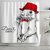 Fasyou Duschvorhang Cartoon H& Maus Print Badezimmer Vorhang Sichtschutz für Duschkabine, Badewannen, Badezimmer, 70X70 Zoll70,Stil B