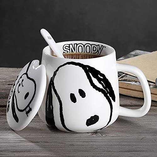 Taza de cerámica Snoopy para hombres y mujeres taza linda tendencia creativa con tapa cuchara pareja taza de café taza de agua para el hogar A