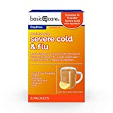 Amazon Basic Care Severe Cold & Flu Relief, Green Tea & Honey Lemon Flavors; Relieves Cough, Sore...