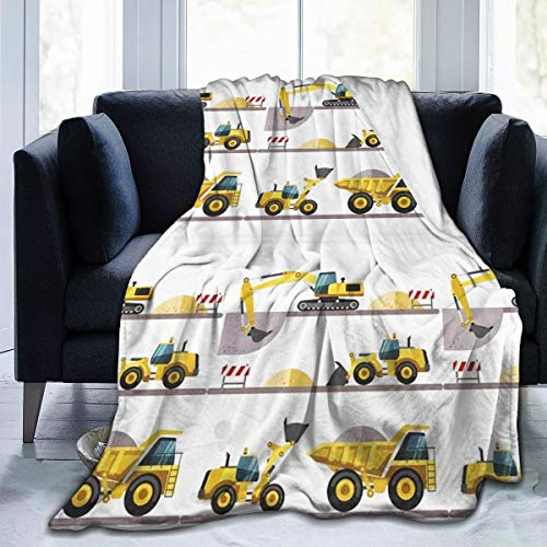Deaowangluo Boy's Favorite Toy Cartoon Machinery Excavator Truck and Loader Micro Fleece Throw Blanket Ultra-Soft Throws for Winter Bedding Couch Sofa 50x40 Inch