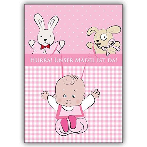 Wenskaarten met korting voor hoeveelheid: schattige babykaart (meisjes) voor de geboorte met knuffeldieren: Hurra! Ons meisje is er! • vrolijke wenskaart, cadeaukaart voor de geboorte om de jonge familie te feliciteren zakelijk en privé 10 Grußkarten