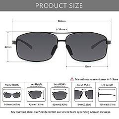 SUNGAIT Ultra Lightweight Rectangular Polarized Sunglasses Man UV400 Protection (Gunmetal Frame Gray Lens, 62) 2458 QKHUK #4