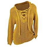 Maoyou Women's Solid Color Loose Warm Knitted Lace-up Sweater Hoodie Winter Plus Size Hooded Jacket Sweatshirt(Yellow,XXL)