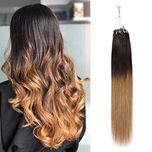 45cm-Extensiones Keratina Micro Anillos Pelo Natural 100% Cabello Humano [1g*50pcs] 100% Remy Human Hair - 2# Marrón Oscuro a 6# Marrón Claro