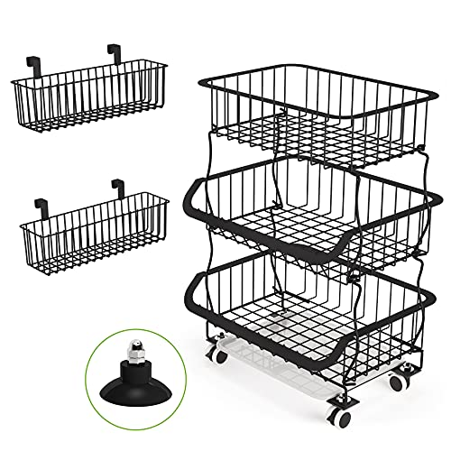 Fruit Basket, 1Easylife 3 Tier Stackable Metal Wire Basket Cart with Rolling Wheels, Utility Rack for Kitchen, Pantry, Garage, With 2 Free Baskets (3 tier)