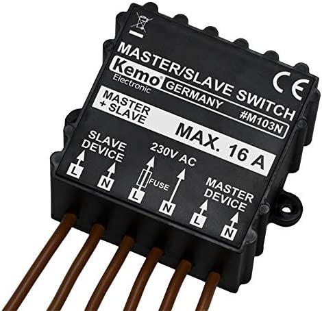 Kemo M103N Master/Slave Switch 230V/AC (400V/AC) Turns off other load when machine is turned on, lamp etc. Monitoring 1 phase or 3 phase machines