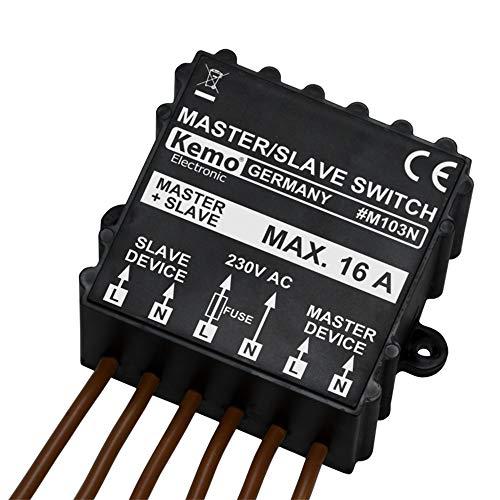 Kemo M103N Master / Slave Schalter 230 V/AC (400 V/AC). Schaltet bei Einschalten von Maschine, Lampe usw. andere Last aus. Überwachung von 1-phasigen oder 3-phasigen Maschinen