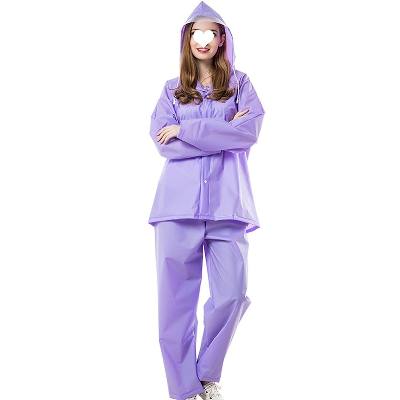 PENGFEI 防水 レインコートポンチョ ジャケット レインパンツ 帽子の庇 サイクリング 通気性のある 柔らかい カップル、 6色、 3サイズ (色 : Purple, サイズ さいず : L l)