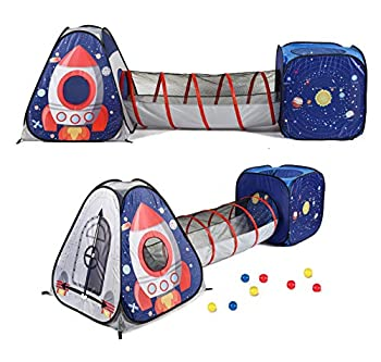 UTEX 3pc Space Astronaut Kids Play Tent Pop Up Play Tents with Tunnels for Kids Boys Girls Babies and Toddlers Indoor/Outdoor Playhouse –Stem Inspired Design W/Solar System & Planet