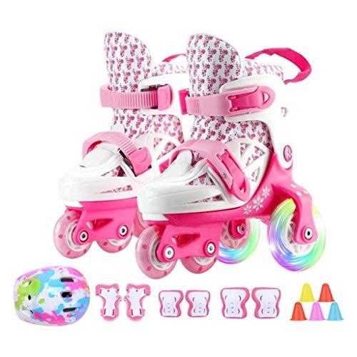 Taoke Inline-Skates Skate, Kinder Roller Skates Anfänger Einstellbare zweireihig 4 Wheel Full Set, Unisex Kinder Inline Skates (Farbe: A, Größe: 28-33code) dongdong (Color : A, Size : 2833code)