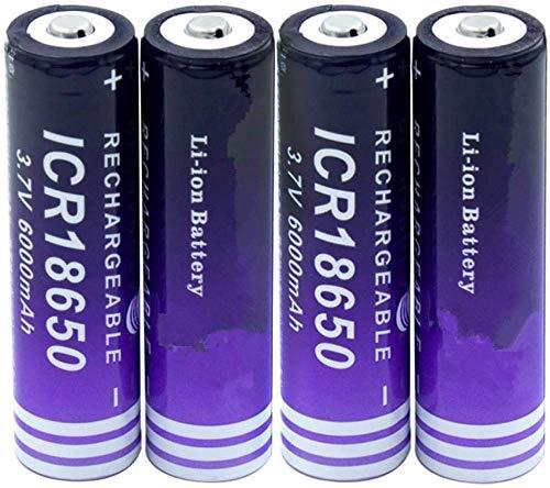 Icr 18650 botón Superior batería de Iones de Litio de Alta Capacidad 3,7 v 6000 mah celda de Repuesto para luz LED de antorcha-4 Piezas