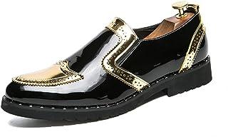 Sygjal Men's Business Oxford Casual Fashion Classic Vintage Patchwork Patent Leather Formal Shoes (Color : Silver, Size : 48 EU)