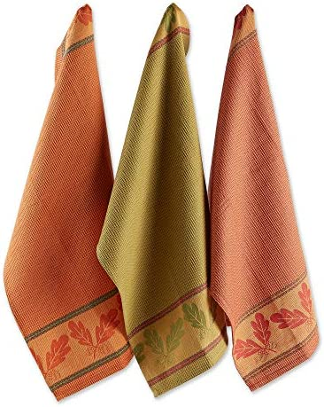 DII CAMZ10292 Cotton Thanksgiving Fall Holiday Decorative Dish Towels 18x28 Set of 3 Autumn product image