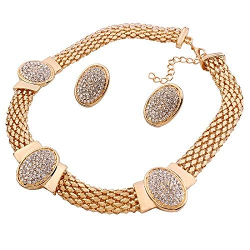 Collana girocollo da donna placcata in oro 18 K con strass e anello