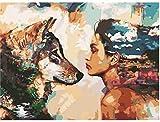 Pintura al óleo de bricolaje Lobo y niña Pintura por números Para lienzo niños adultos decoración set de regalo pintura acrílica 40x50cm (sin marco)