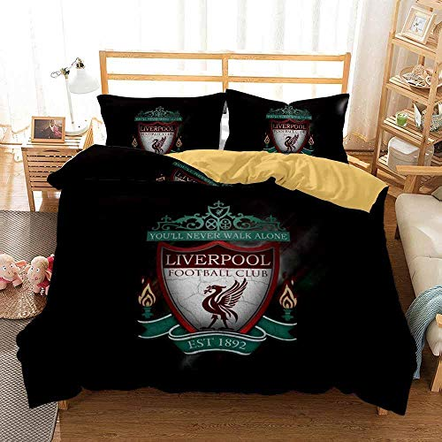 Duvet Cover single bed 135 x 200 cm with 2 Pillow Cases 50 x75 cm Microfiber Bedding Quilt Cover Set with Zipper Closure Liverpool Football Club printing Duvet Cover Set