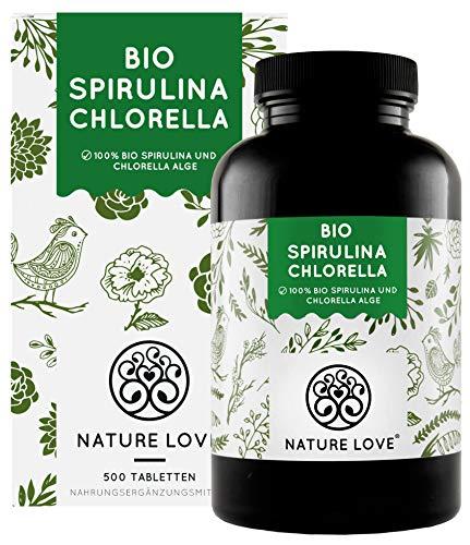 NATURE LOVE® Bio Spirulina + Bio Chlorella mit 500 mg pro Pressling. 500 Tabletten. Laborgeprüft & ohne Zusätze. Hochdosiert, laborgeprüft und 100% vegan