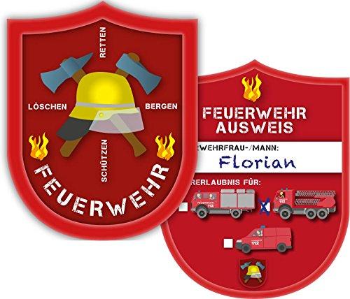 DH-Konzept 6 Ausweise für * Feuerwehr * in Form eines Marke für eine Mottoparty // Kindergeburtstag Kinder Geburtstag Feier Set Fest Party Motto Deko Spiel Mitgebsel Feuerwehrmann Feuer