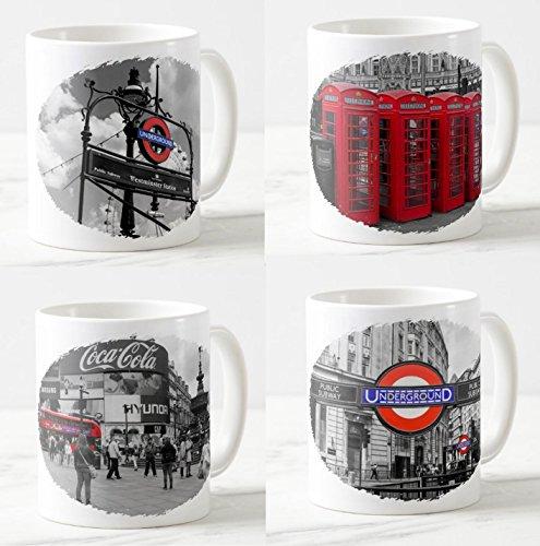 Becher/Tassen Set London - 4 Kaffee-Becher - Motive: Londoner Telefonzellen/Underground Station/Piccadilly Circus/Westminster Station - Foto-Tassen/Fotos / Bilder/Souvenirs