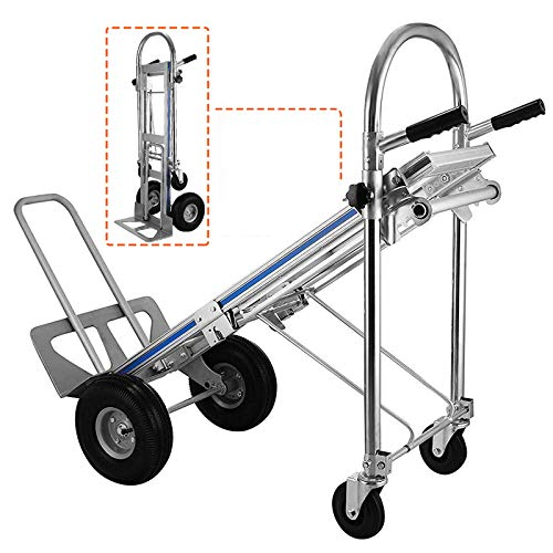 """SUNCOO Hand Truck, 4 in 1 Convertible Dolly Cart, 770 LBS Capacity Folding Hand Truck 2 Wheel Dolly Stair Climber 4 Wheel Cart Assisted Hand Truck with 10"""" Pneumatic Wheels"""