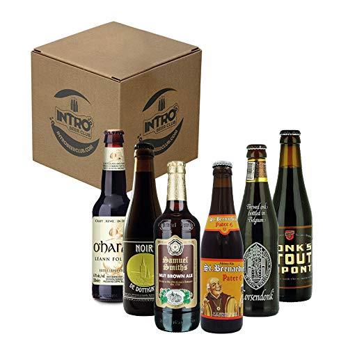 INTRO BEER CLUB Box Degustazione Birre Artigianali - Selezione di Birre dal Mondo'Dark Beer Top Selection' - Kit con 6 Bottiglie da 33cl - Confezione Idea Regalo Uomo