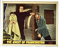 Colorized photo from Ghost of Frankenstein, where the monster has kidnapped the young girl Cloestine, over Ygor's protests