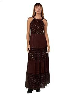 Splash Patterned Sleeveless Round Neck Maxi Dress for Women M