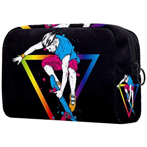 Stijlvolle Skater In Jeans En SneakersSmall Make-up Tas voor portemonnee Reizen Make-up Pouch Mini Cosmetische Tas voor Vrouwen