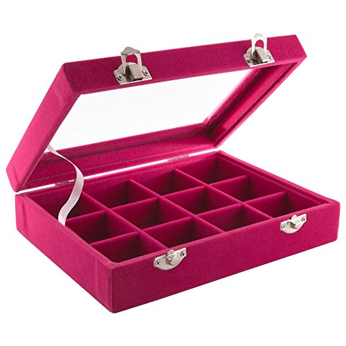 Aufbewahrungsbox Präsentationskoffer mit Samtbezug Farbe: Himbeer - 12 Fächer und Sichtfenster - für Nailart Schmuck Tips usw.