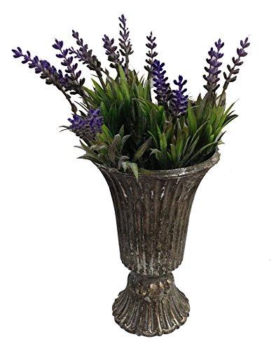 GMMH Pokal Amphore Dekovase Vase 18-1 Blumenvase Antik Metall Vintage Deko Retro Design (Silber)