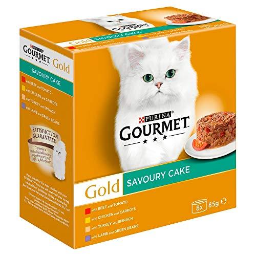 Purina Gourmet Gold Cat Food Savoury Cake, Meat and Veg 8 x 85g