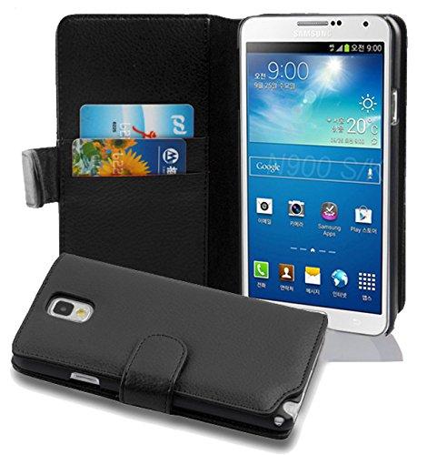 Cadorabo Hülle für Samsung Galaxy Note 3 - Hülle in Oxid SCHWARZ – Handyhülle mit Kartenfach aus struktriertem Kunstleder - Case Cover Schutzhülle Etui Tasche Book Klapp Style