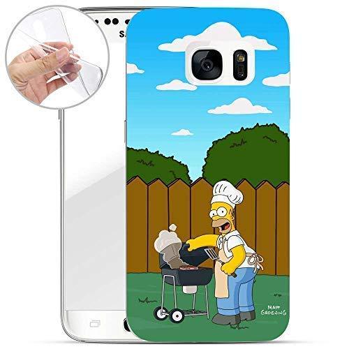 Finoo Hülle für Samsung Galaxy S7 - Handyhülle mit Motiv und Optimalen Schutz TPU Silikon Tasche Case Cover Schutzhülle - Homer Grill Garten