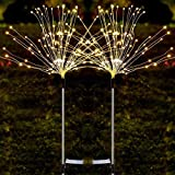2 Pack Solar Powered Copper Wire Firework Lights, 120 LED Fairy Starburst String Lights Outdoor Lights String with IP65 Waterpoof and 8 Mode, for Outdoor Patio Lawn Flowerbed Backyard (Warm White)