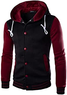 LOKOUO Men Hoodies Coat, Mens Winter Slim Warm Hooded Sweatshirt Jacket Button Baseball Coat