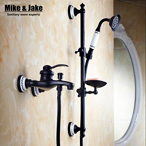 Bathroom black wall shower mixer set with lifter shower bar bath simple bathtub mixer set with hand shower black orb shower,style3