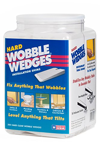 Wobble Wedges Stackable Interlocking Multi-Purpose Stability Shims  Hard Translucent Plastic  300 ea  Level Furniture, Restaurant Tables, Appliances, Plumbing Fixtures, Tables, Fountains, and more